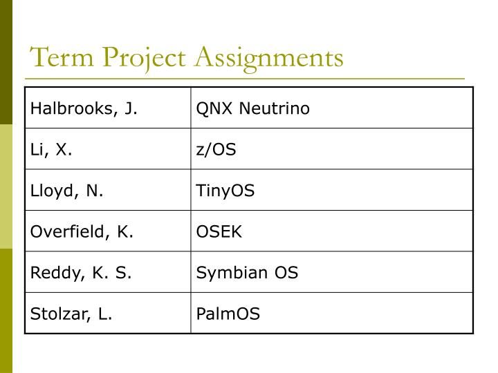 term project assignments n.