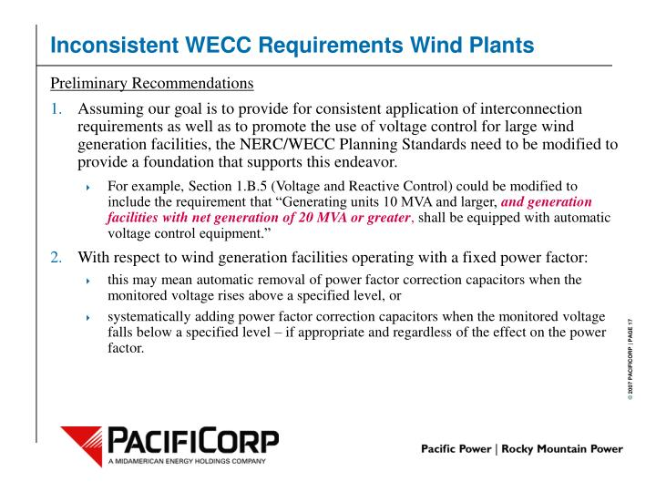 Inconsistent WECC Requirements Wind Plants