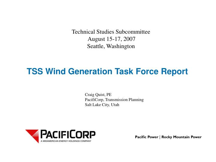 tss wind generation task force report n.