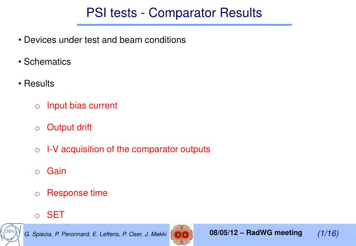 psi tests comparator results n.
