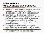 paranoi na organizacijska kultura