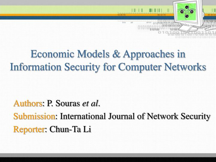 economic models approaches in information security for computer networks n.