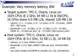 example vary memory latency bw
