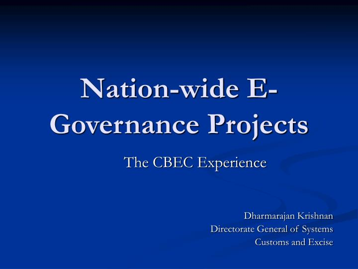 nation wide e governance projects n.