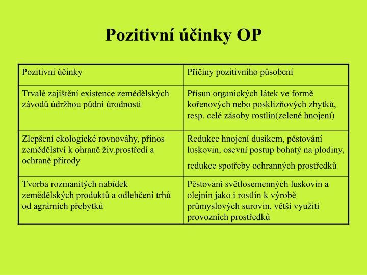 Pozitivní účinky OP