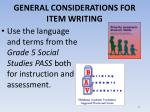 general considerations for item writing1
