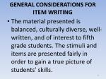 general considerations for item writing12