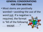 general considerations for item writing15