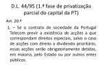d l 44 95 1 fase de privatiza o parcial do capital da pt
