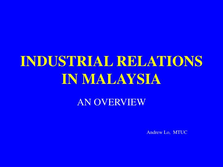 industrial relations in malaysia n.