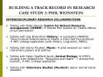 building a track record in research case study 3 phil weinstein