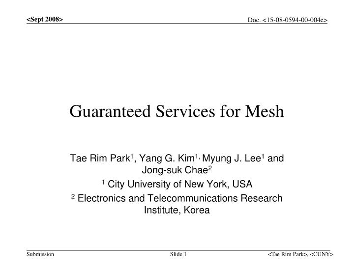guaranteed services for mesh n.