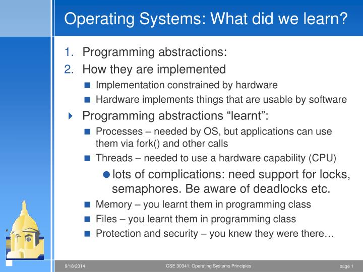 operating systems what did we learn n.
