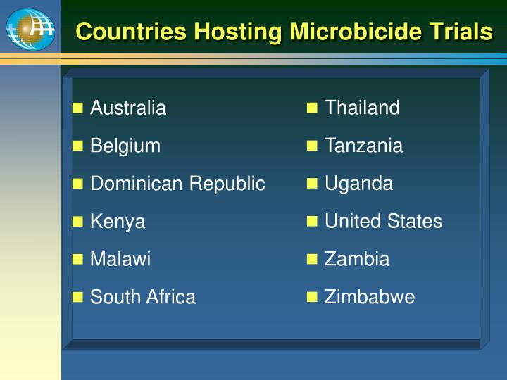 Countries Hosting Microbicide Trials