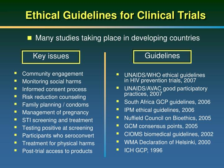 Ethical Guidelines for Clinical Trials