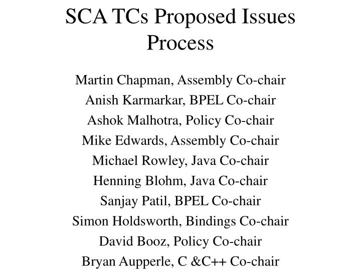 sca tcs proposed issues process n.