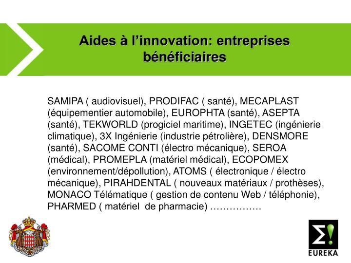 Aides à l'innovation: entreprises bénéficiaires