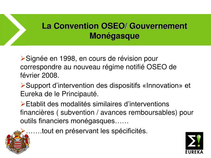 La Convention OSEO/ Gouvernement Monégasque