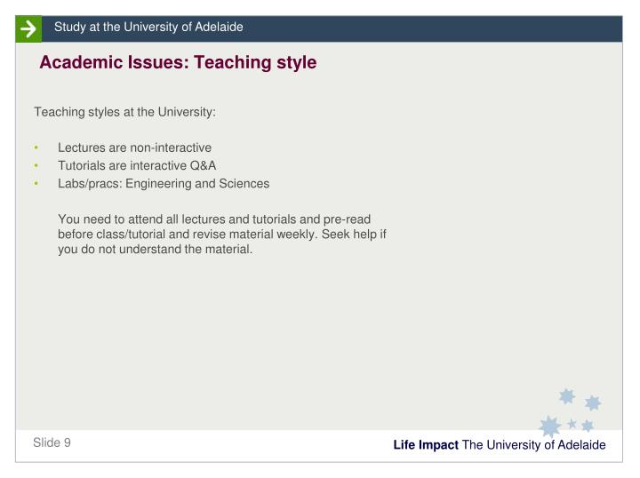 Academic Issues: Teaching style