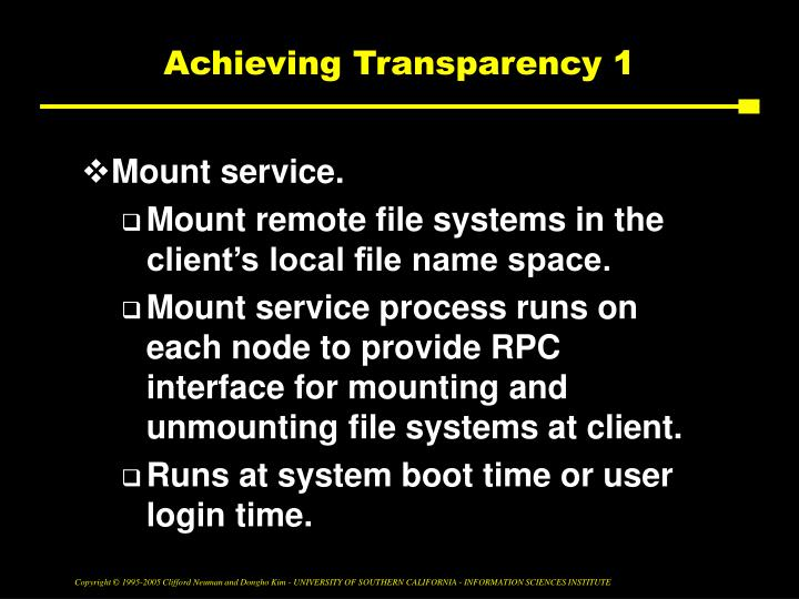 Achieving Transparency 1