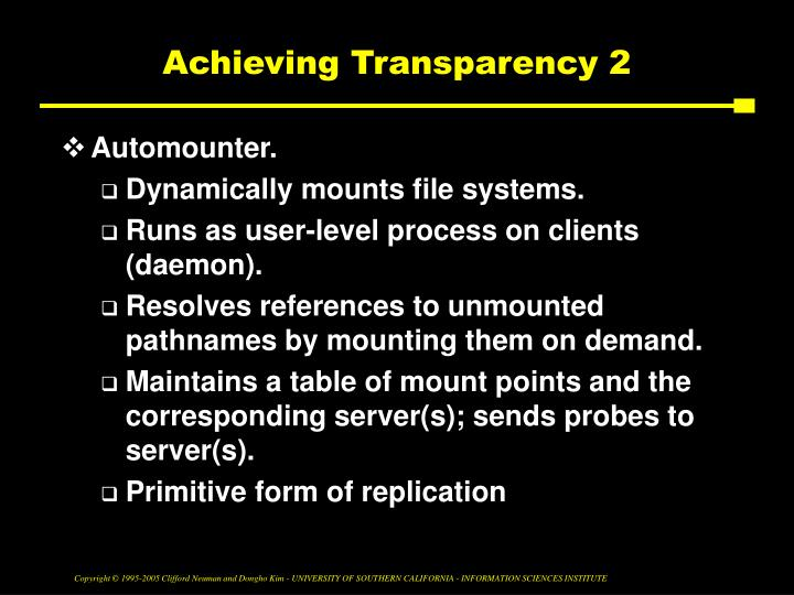 Achieving Transparency 2