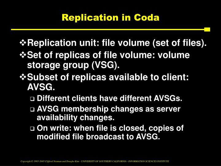 Replication in Coda