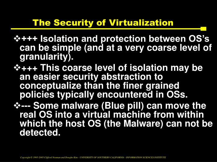 The Security of Virtualization