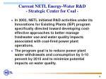 current netl energy water r d strategic center for coal