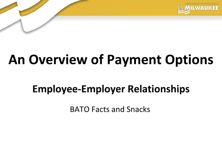 an overview of payment options employee employer relationships n.