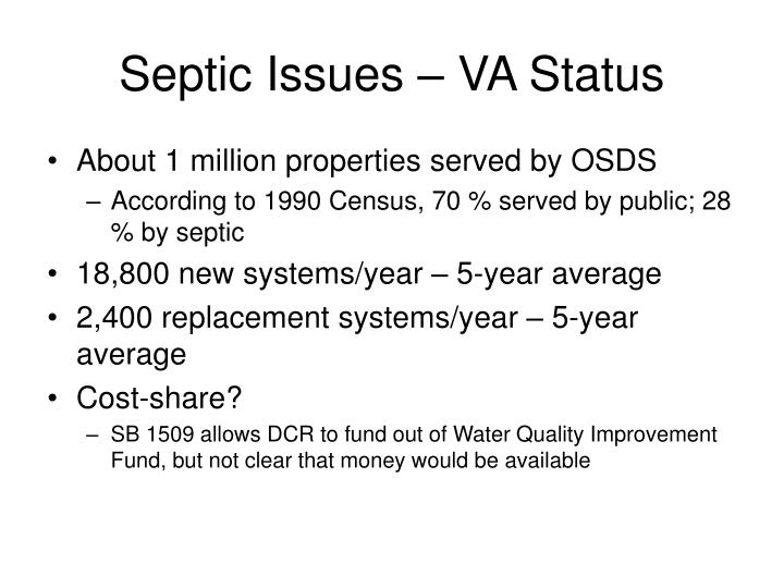 septic issues va status n.