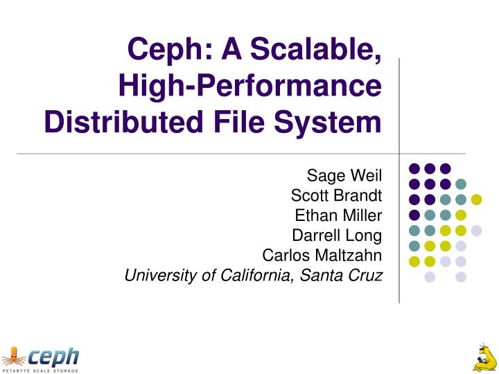 ceph a scalable high performance distributed file system n.