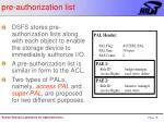 pre authorization list