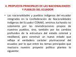 4 propuesta principales de las nacionalidades y pueblos del ecuador