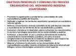 objetivos principales y comunes del proceso organizativo del movimiento ind gena ecuatoriano
