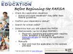 before beginning the fafsa