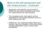 more on the self assessment and site review process continued