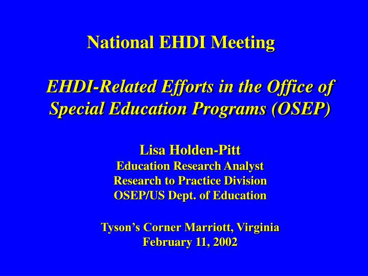 National EHDI Meeting