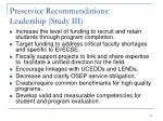 preservice recommendations leadership study iii