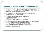 world reaction continued