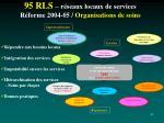95 rls r seaux locaux de services r forme 2004 05 organisations de soins