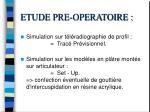 etude pre operatoire