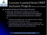 lessons learned from osep inclusion projects barriers and challenges3