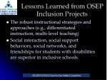 lessons learned from osep inclusion projects1