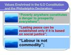 values enshrined in the ilo constitution and the philadelphia declaration