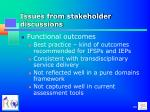 issues from stakeholder discussions