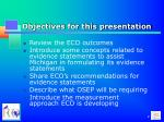 objectives for this presentation