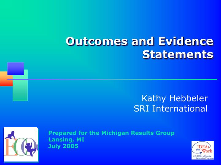 outcomes and evidence statements n.