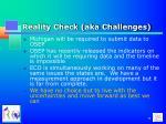 reality check aka challenges