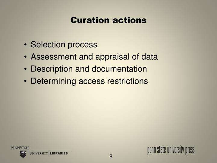 Curation actions