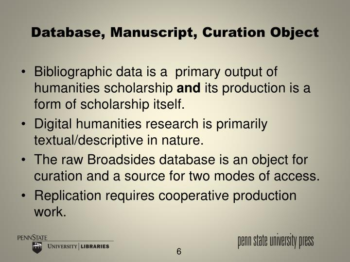 Database, Manuscript, Curation Object
